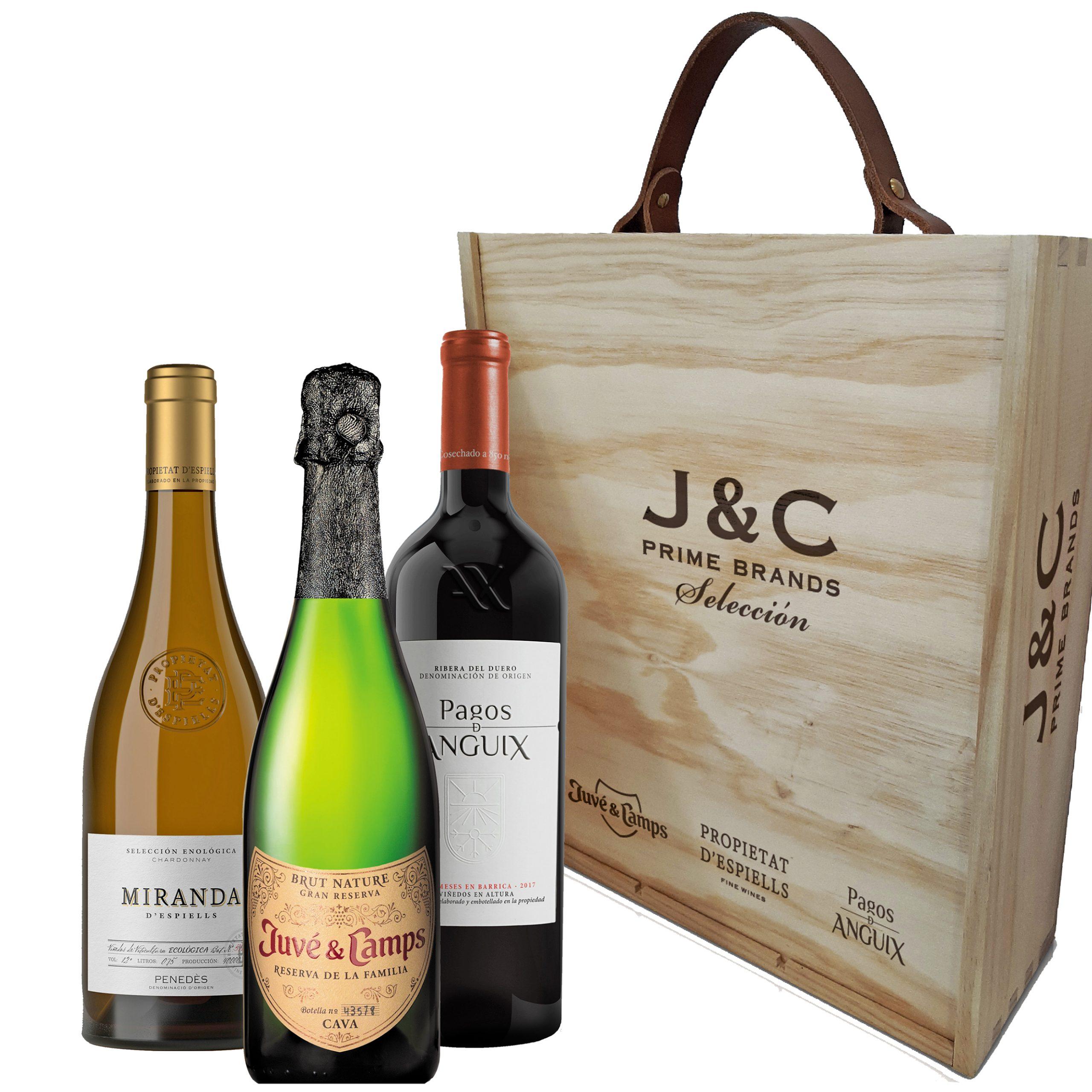 seleccion tres botellas juve y camps propietat despiells pagos de anguix